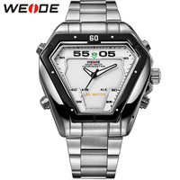 Original LED Analog Display Watches Digital Men Sports Military Silver Stainless Steel Triangle Watch Men