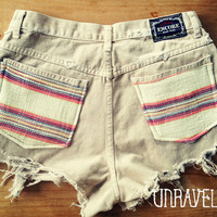 Extra High Waist Shorts, Ethnic Tribal Pockets (Size MEDIUM)