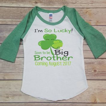 I'm So Lucky Soon To Be Big Brother Personalized Raglan-Personalized with ANY Name! Sibling Raglan Shirt. Infant Raglan. Toddler.