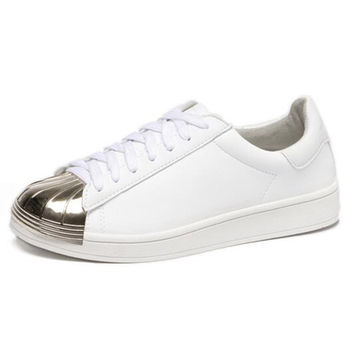 White Contrast Toe Cap Flatform Sneakers