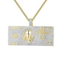 Iced Out 100 Dollar Bill Note Money Pendant Chain Set