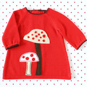 Knitted baby dress, red, baby girl, baby gift, felt mushrooms, 100% merino wool. READY to SHIP size 1-3 months.