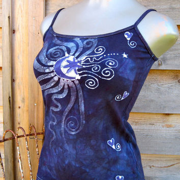 Batik Stretchy Handmade Yoga Tanktop in Purple and Navy Blue