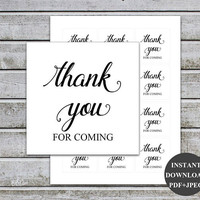 Thank You For Coming Tags, Wedding Favor Tags, Bridal Favor Tags Baby Shower Favor Tags Birthday Favor Tags Printable (V32) Instant Download