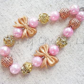 Pink and Gold Chunky Necklace, Large Bead Necklace, Vintage Birthday, Bubblegum Necklace, Baby Necklace, Toddler Necklace, Girl Necklace