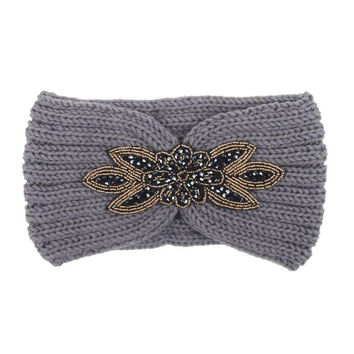 Accessories For Hair Woman Keep Warm Hairband Applique Decoration Women Knitted Hair Bands Turbantes Mujer#121