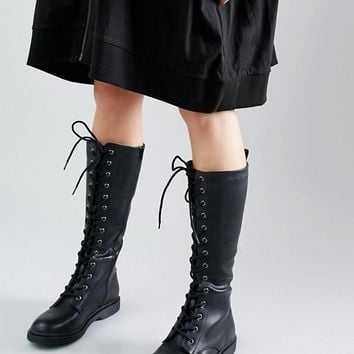 New Look Leather Look Lace Up Biker Boots at asos.com