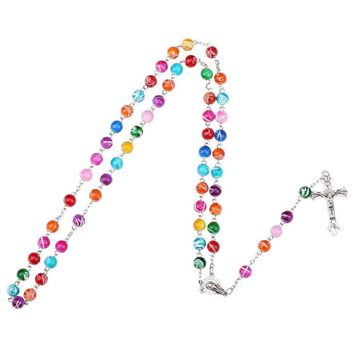 Colorful  Catholic Rosary Cross Pendant Necklace