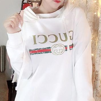ONETOW GUCCI2017 autumn and winter new letters cotton loose couple sweater men and women hooded pullover jacket