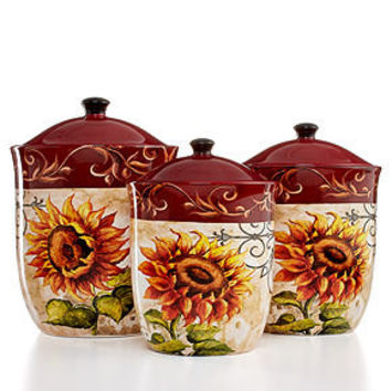 Certified International Serveware, Tuscan Sunflower 3-Piece Canister Set - Serveware - Dining & Entertaining - Macy's