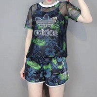 DCCKXT7 Adidas' Women Fashion Casual Leaf Flower Print Gauze Short Sleeve Set Two-Piece Sportswear