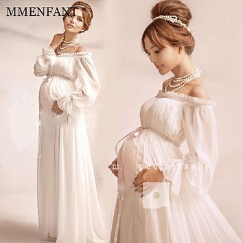 Maternity clothes vestidos 2017 summer white long dress Maternity Photography Props Elegant Pregnancy Clothes Maternity Dresses