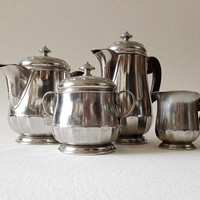 Tea and coffee set, Bouillet and Bourdelle, set of 4, art deco style, french vintage, silver plated, french decor, serving set, coffee pot