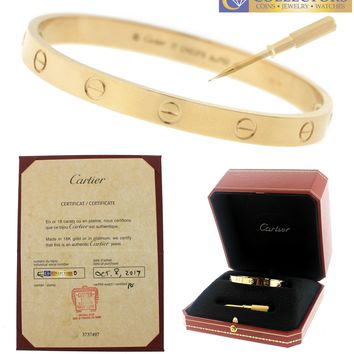 BRAND NEW Ladies 2017 Cartier LOVE Screw Size 17 18K Yellow Gold Bangle Bracelet