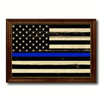 Thin Blue Line Honoring our Men and Women of Law Enforcement American Police USA Flag Vintage Canvas Print with Brown Picture Frame Gifts Ideas Home Decor Wall Art Decoration
