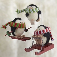Wooly Winter Sport Penguin Ornaments