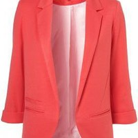 Corporate Agenda 3/4 Sleeve Boyfriend Blazer in Coral Sorbet | Sincerely Sweet Boutique