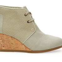 TOMS Agate Burlap Textured Women's Desert Wedge Green