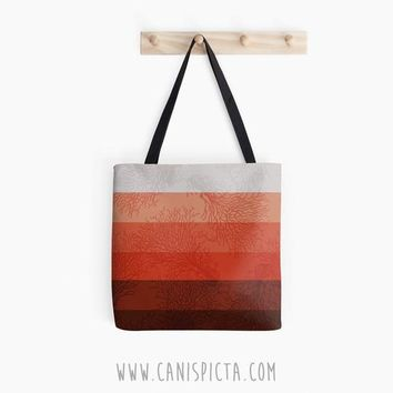Coral & Concrete Ombre Tote Bag Geometric Living Orange Red Grey Pattern Ocean Beach Marine Nautical Reef Purse Gift Idea Small Large Medium