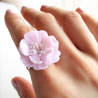 Wedding flower ring, Wedding flowers, Bridal ring, Light pink ring, light pink jewelry, Floral wedding, floral ring