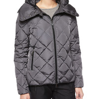 Bourg Quilted Puffer Jacket, Charcoal, Size:
