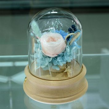 Preserved flower in glass DIY decoration flower pink rose blue Preserved hydrangea Bonsai for Father's Day and all Festival day