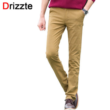 Mens Fashion Stretch Slim Fit Sanded Chino Pants Trousers Black Blue Khaki Brown 4 Colors 28 29 30 31 32 33 34 36 38