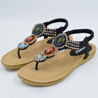 Slingback T-Strap Beading Ankle Strap Thong Sandals