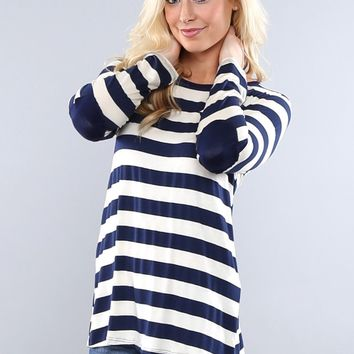 Striped Button Back Elbow Patch Tunic