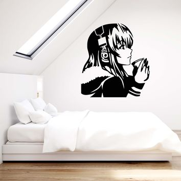 Vinyl Wall Decal Beautiful Anime Girl with Coffee Headphones Art Decor Stickers Mural Unique Gift (ig5225)