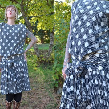 Vintage 80's ESCADA Avant Garde Black and White Modern Diamonds Drop Waist Dress