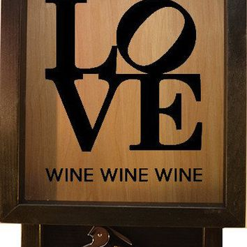 "Wooden Shadow Box Wine Cork Holder with Corkscrew 9""x15"" - Love Wine Wine Wine"