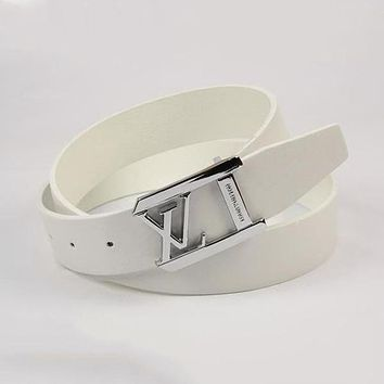Louis Vuitton Woman Fashion Smooth Buckle Belt Leather Belt