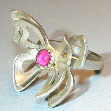 Silver Butterfly Ring with Pink Ruby , sterling silver ring. statement ring