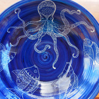 Salad bowl Handmade and hand decorated bowl octopus fish detailed design