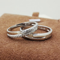 Cool Celebrity CZ Diamond Silver Couples Rings for 2