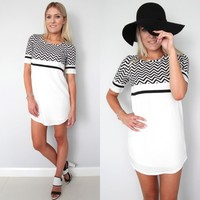 MONOCHROME BLACK WHITE ZIG ZAG PRINTS CHEVRON SHIFT DRESS 6 8 10 12