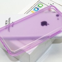 DIGIWAVES U.S.A. - (LIGHT PURPLE) The Gel Jelly Candy Colour Protective TPU Clear Transparent Glossy Smooth Back Cover Unique Case For iPhone 5C Scratch-Resistant Slim Light Weight Case, (FOR: APPLE IPHONE 5C)