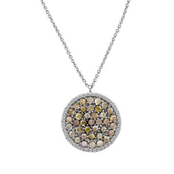White Gold Rough Diamond Disc Necklace