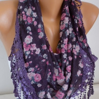 ON SALE - Purple Scarf - Cotton Scarf - Cowl with Lace Edge -