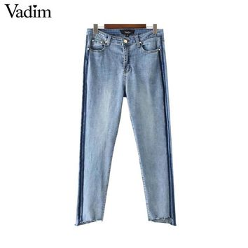 vintage fringe side striped denim jeans pockets ankle length pants European style ladies casual brand trousers
