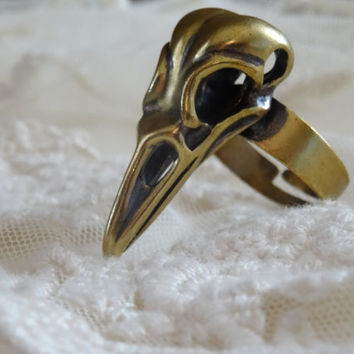 1- Adjustable Bird Skull Ring Bohemian 3D Vintage Style Bronze Stylish Fall Trends Finished Jewelry