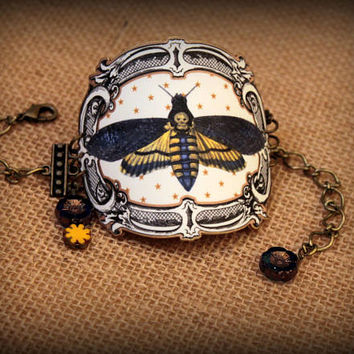 Cuff Bracelet - Deaths Head Moth - Moth Jewelry - Moth Bracelet - Vintage Illustration - Vintage Collage Jewelry - Wrist Candy - Faux Show