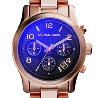 Women's Michael Kors 'Runway' Rose Gold Plated Watch, 37mm - Rose Gold/ Blue