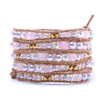 Leather Long Wrap Bracelet Graduated Pink Pearlescent Crystal and Goldtone Beads 34 inches 5 Wraps