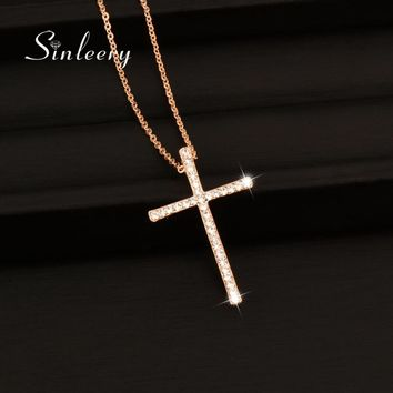 SINLEERY Silver Color Rhinestone Cross Pendant Necklace Chain For Women And Girl Xl402 Free