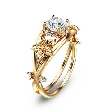 Moissanite Unique Engagement Ring 14K Yellow Gold Flower Ring Moissanite Engagement Ring
