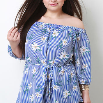Striped Floral Waist-Tie Off The Shoulder Top | UrbanOG