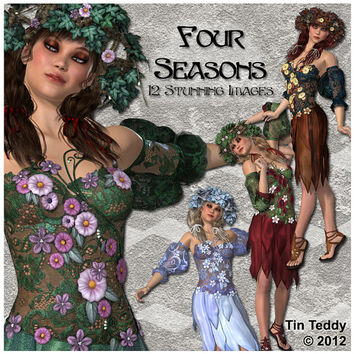Four Seasons - 12 Stunning Floral Printable Digital Clip art Images - scrapbooks card making & crafts - spring summer autumn winter fall