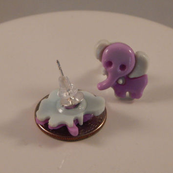 little purple elephant stud earrings - repurposed buttons, whimsical fashion - back to school, zoo Africa themed party wear, cute jewelry